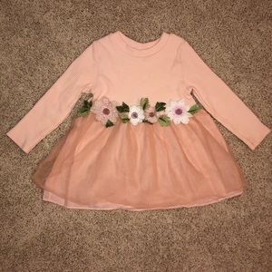 Pink tulle Spring dress with embroidered flowers